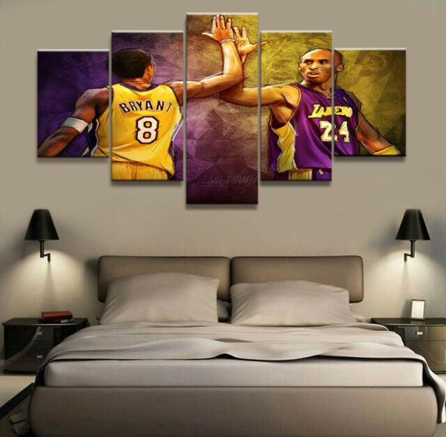 Kobe Bryant Black Mamba NBA LA Lakers Basketball Star 5 Piece Canvas Art Print