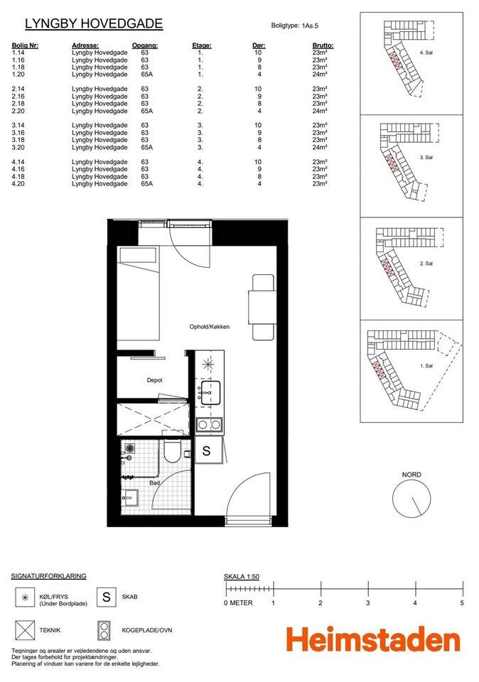 2800 vær. lejlighed, m2 32, Lyngby Hovedgade