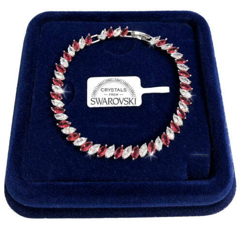 Bracciale Tennis Striscia pl oro bianco 18k donna,braccialetto cristalli SW//Rosa
