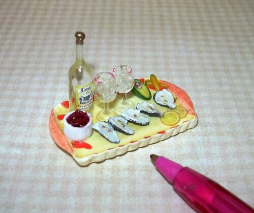 DOLLHOUSE 1:12 Miniature Falcon Oyster Cocktail Tray w//White Wine Bottle