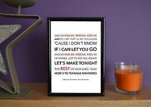 Framed-5-Seconds-Of-Summer-Kiss-Me-Kiss-Me-Poster-Art-Print-5x7-Inches
