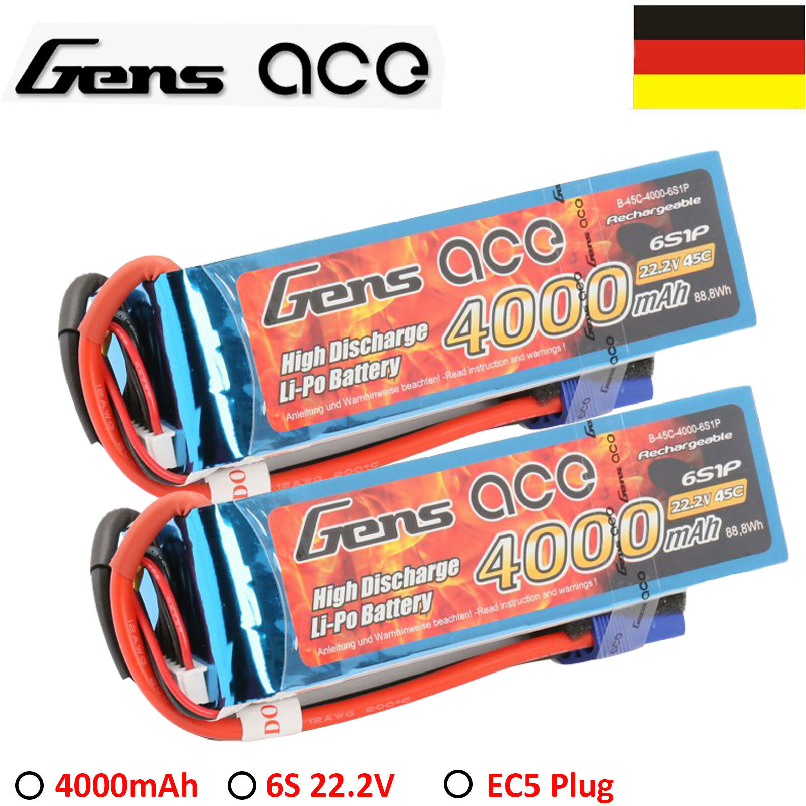 2x gens Ace 4000mah 6s 45c 22.2v Lipo batería RC batería para Goblin 500 570 Heli