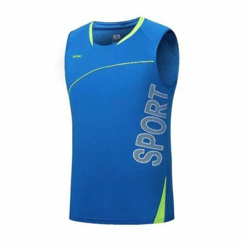 Men Sports Running Sleeveless Shirt Quick Dry Tank Top Gym Workout Fitness Vest