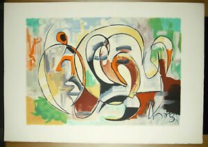 Print-Art-Modern-Stone-Victor-Mpoyo-1934-2015-c1970-Abstract-Abstract-75cm