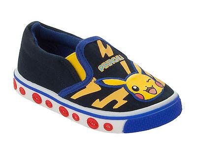 Boys Pokemon Pikachu Canvas Slip On Pumps Trainers Shoes  Uk Size 6-2