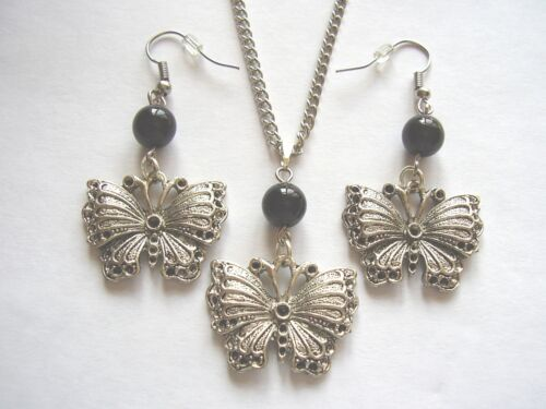 Victorian Gothic butterfly /& black glass bead pendant necklace /& earrings set