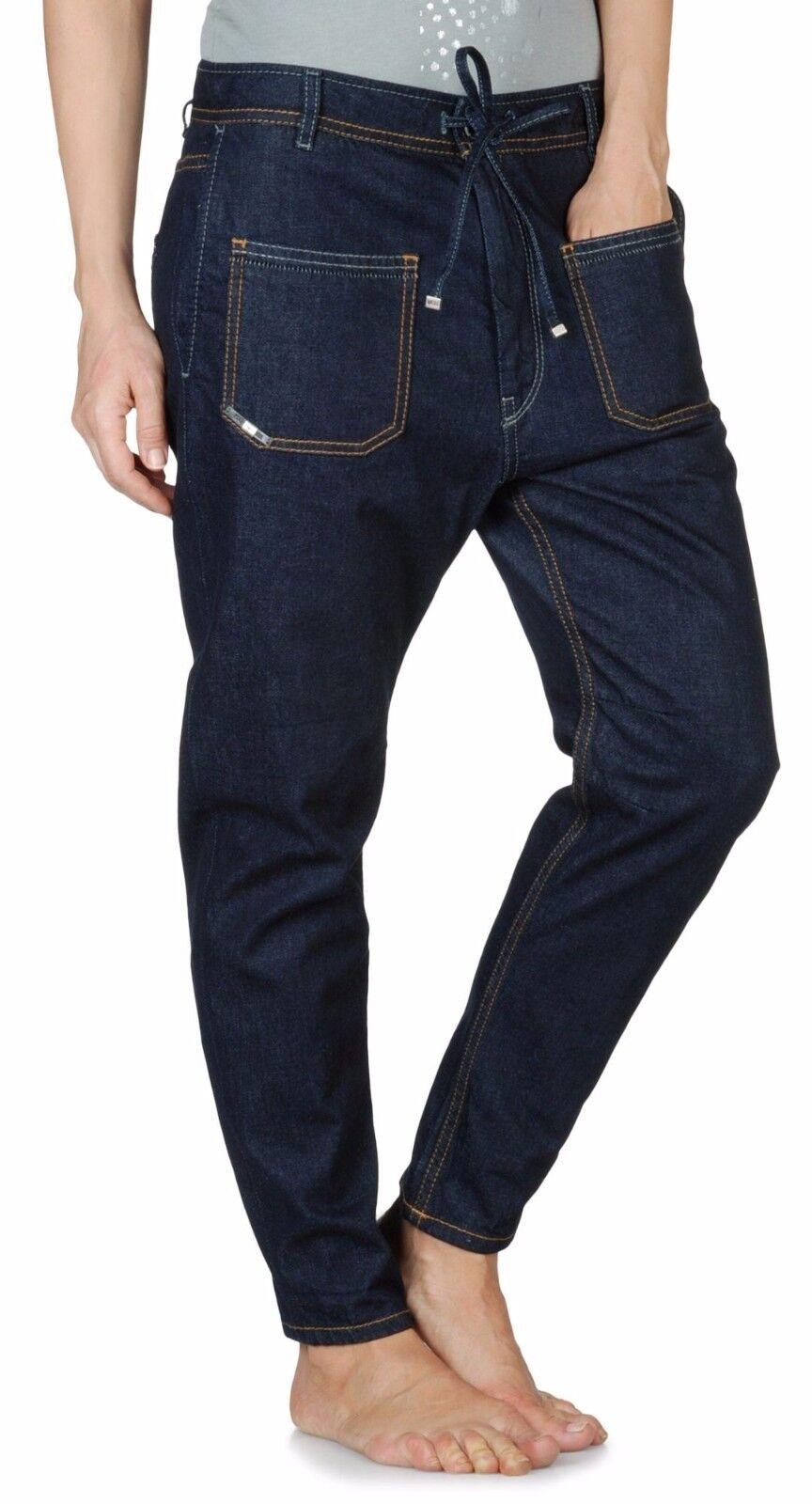 Diesel + Edun Ed Partee Joggings Cotton Jeans Drawstring Dark Indigo 24