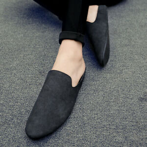 Mens Slip On Faux Suede Pointy Toe