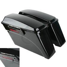 Black Hard Saddle Bag W/ Lid Latch Keys For Harley Davidson Touring Models 94-13