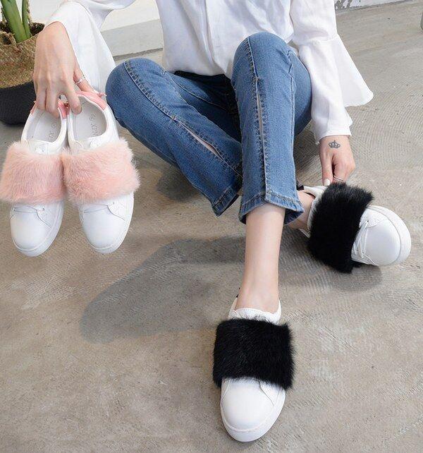Chaussures de sport lacets rose noir laine polaire élégant confortable basses
