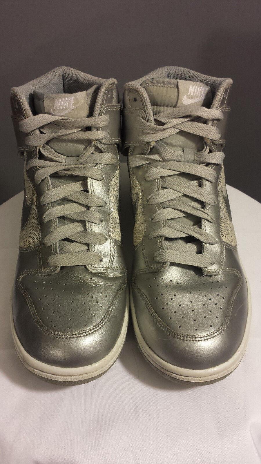 NIKE DUNK HIGH 325203-001 Silver Glitter METALLIC Hi Basketball Shoes WOMEN 10