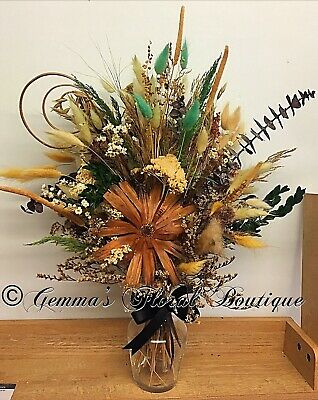 Flowers Dried Flower Vase Bouquet Gift Arrangement Uk Ebay