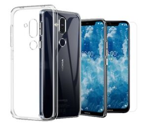 For-Nokia-8-1-Nokia-X7-Clear-Slim-Gel-Case-amp-Glass-Screen-Protector