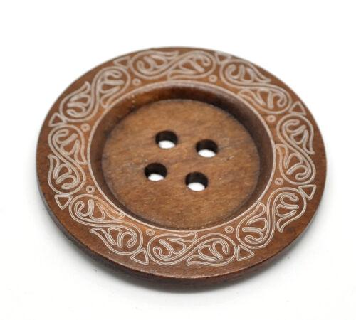 El botón del grano y Caja-Muy Grande Boho Rico Marrón Botones Madera 60mm 6cm