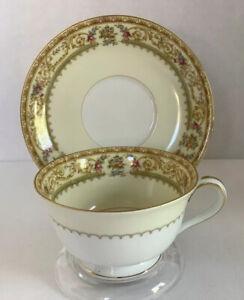 Vintage-Noritake-China-Japan-Lebrun-Tea-Cup-And-Saucer-Set-Gilt-Gold-Trim