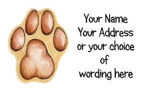 Image Is Loading 21 X Personalised Address Labels Stickers Fab Pawprint