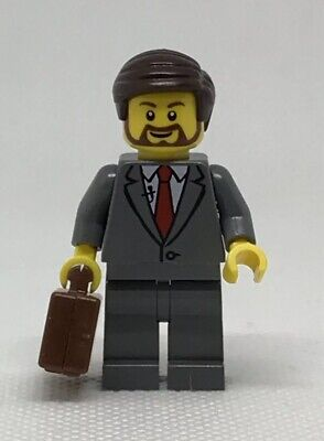 NEW GENUINE LEGO Gray Suit Businessman Briefcase Minifigure 40358 City Mini Fig