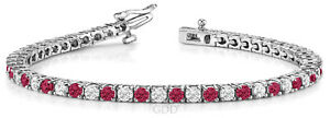 2-50ct-Round-Cut-Diamonds-And-Ruby-Link-Tennis-Bracelet-Rose-10k-Gold