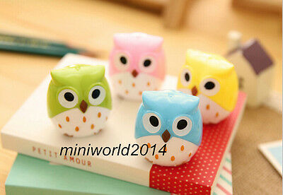 New!4 PCS Creative Stationery Lovely Cute Cartoon Owl Pencil Sharpeners Kid Gift