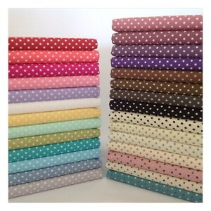 3mm-Polka-Dot-100-Cotton-Fabric-Sewing-Craft-Spots-20-Colours-ROSE-amp-HUBBLE