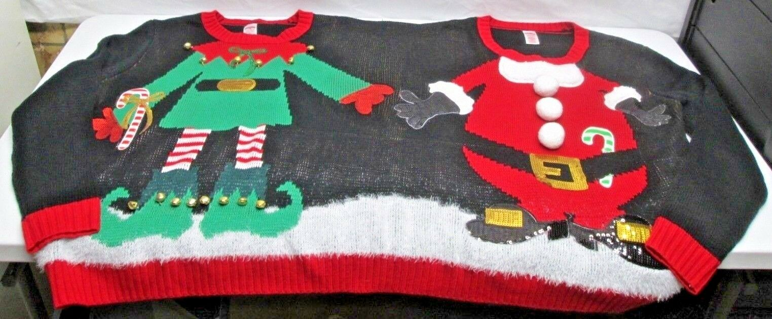 Holiday Time Ugly Christmas Sweater For 2 S/M Elf Santa