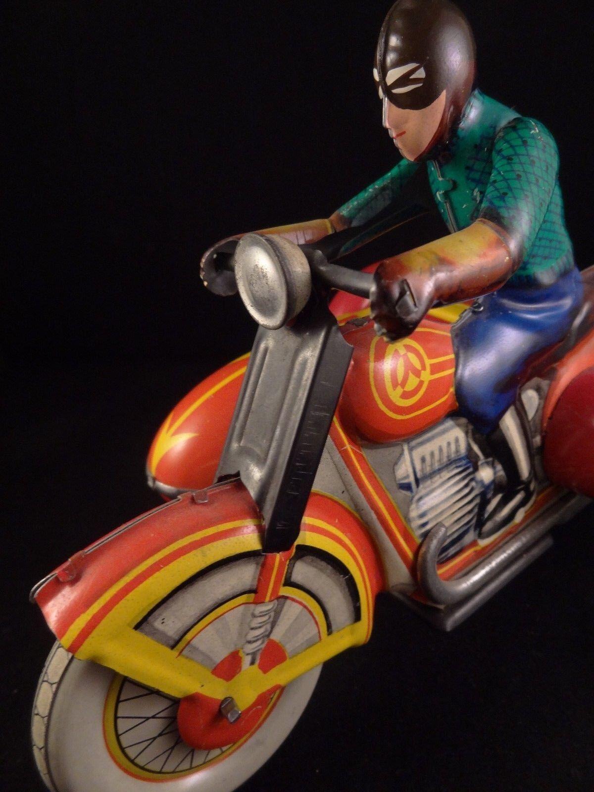 Ancien jouet mécanique tôle superbe moto side-car CCCP Russie 1960 70