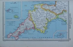 Map Of England Cornwall.Details About 1954 Map West England Cornwall Devon Channel Islands Jersey Plymouth