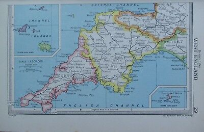Map Of England Cornwall.1954 Map West England Cornwall Devon Channel Islands Jersey Plymouth Ebay