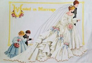 New-Completed-finished-cross-stitch-needlepoint-034-MARRIAGE-WEDDING-034-home-decor
