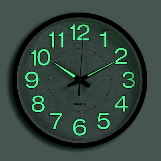 Wall Clock Beautiful Green LED Analog Round Quartz Clock Design Clock Round FLA
