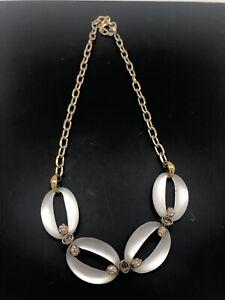 Alexis-Bittar-Lucite-Crystal-Link-Necklace-Goldtone-Rare