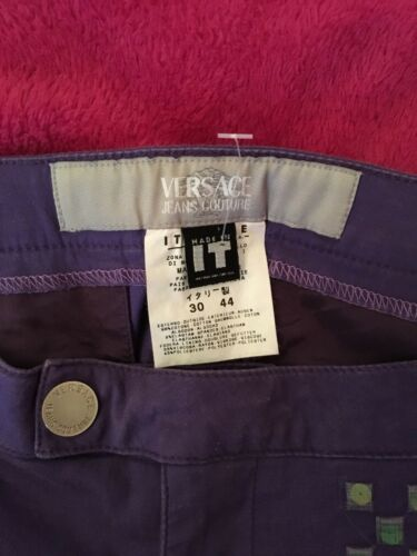 Versace Pants Stretch Tamaño Purple m 44it 12uk Slim vrvZqR