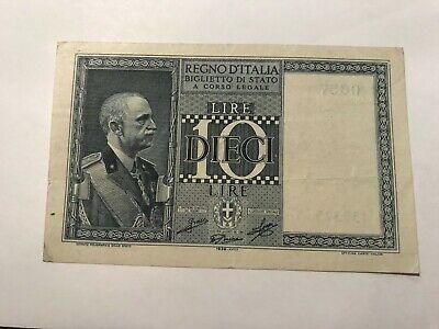 ITALY Paper Money Old 10 Lire Note P25c FINE 1939