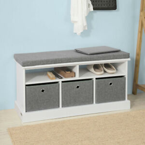 Wondrous Details About Sobuy Hallway 3 Baskets Shoe Storage Bench Seat Stool With Cushion Fsr67 Hg Uk Camellatalisay Diy Chair Ideas Camellatalisaycom