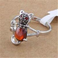 Silver Cat Ring Kitty Crystal Simulated Red Carnelian Rhodium Plated Size 7 8