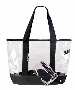 Details About Clear Tote Work Bag See Through Totes Grocery Ping Bags Eco Reusable Gift