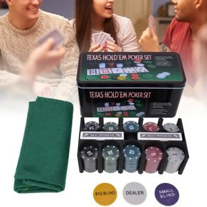 Plastic-Poker-Chip-Texas-Holdem-Set-w-Table-Cloth-Playing-Game-for-Family-Party