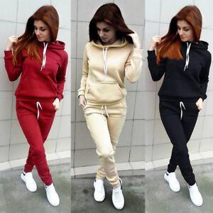 ed3d1e028 Image is loading 2Pcs-Women-Hoodies-Sports-Tops-Pants-Tracksuit-Sweatshirt-