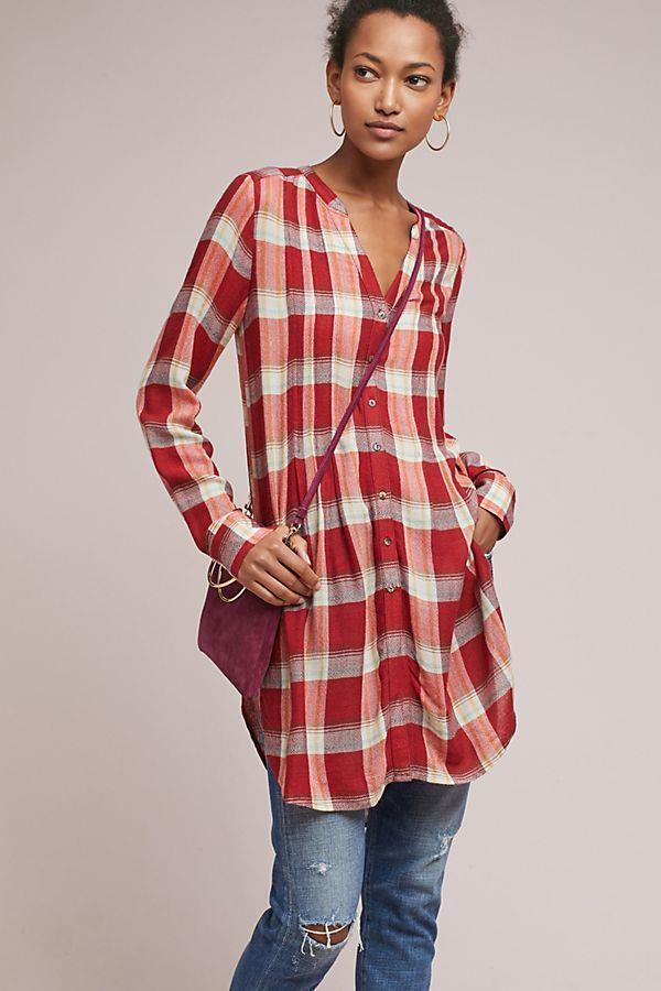 ANTHROPOLOGIE AKIME + KIN Woherren Lucie rot Plaid Tunic Shirt Dress Sz Medium