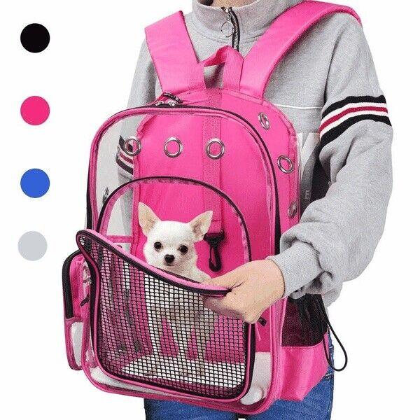 New Pet Outdoor Clear Carrier Backpack Adjustable Transparent Pet Cat Dog UDS