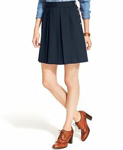 TOMMY-HILFIGER-NEW-WOMENS-Blue-Solid-Pleat-A-Line-Pleated-Skirt-Regular-6
