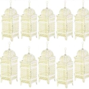 Cool Details About 10 Rustic Moroccan Lantern 11 5 White Ivory Candleholder Wedding Centerpieces Download Free Architecture Designs Sospemadebymaigaardcom