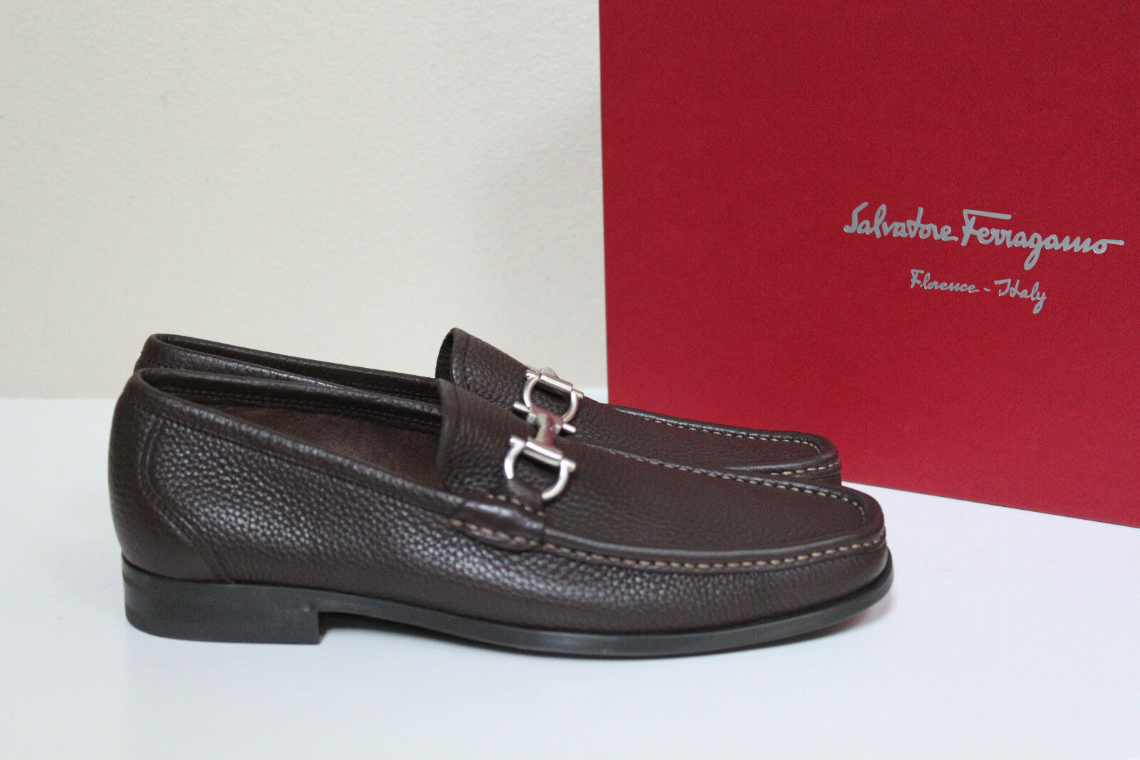 New sz 6 6 6 EE Wide SALVATORE FERRAGAMO Magnifico Brown Loafers Leather Men shoes 9c5008