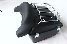 Black Denim Large Motorcycle King Tour Pak Trunk cushion lights and chrome rack
