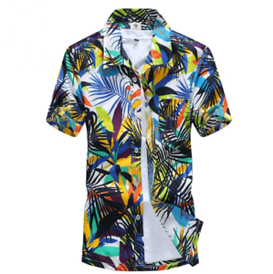Men-039-s-Hawaiian-Shirt-Summer-Tropical-Tree-Short-Sleeve-Casual-Beach-Top-Blouse
