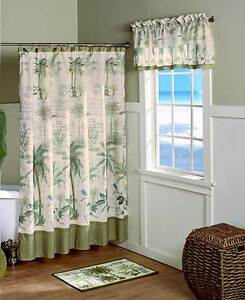 Image Is Loading Tropical Paradise Palm Trees Shower Curtain Rug Hooks