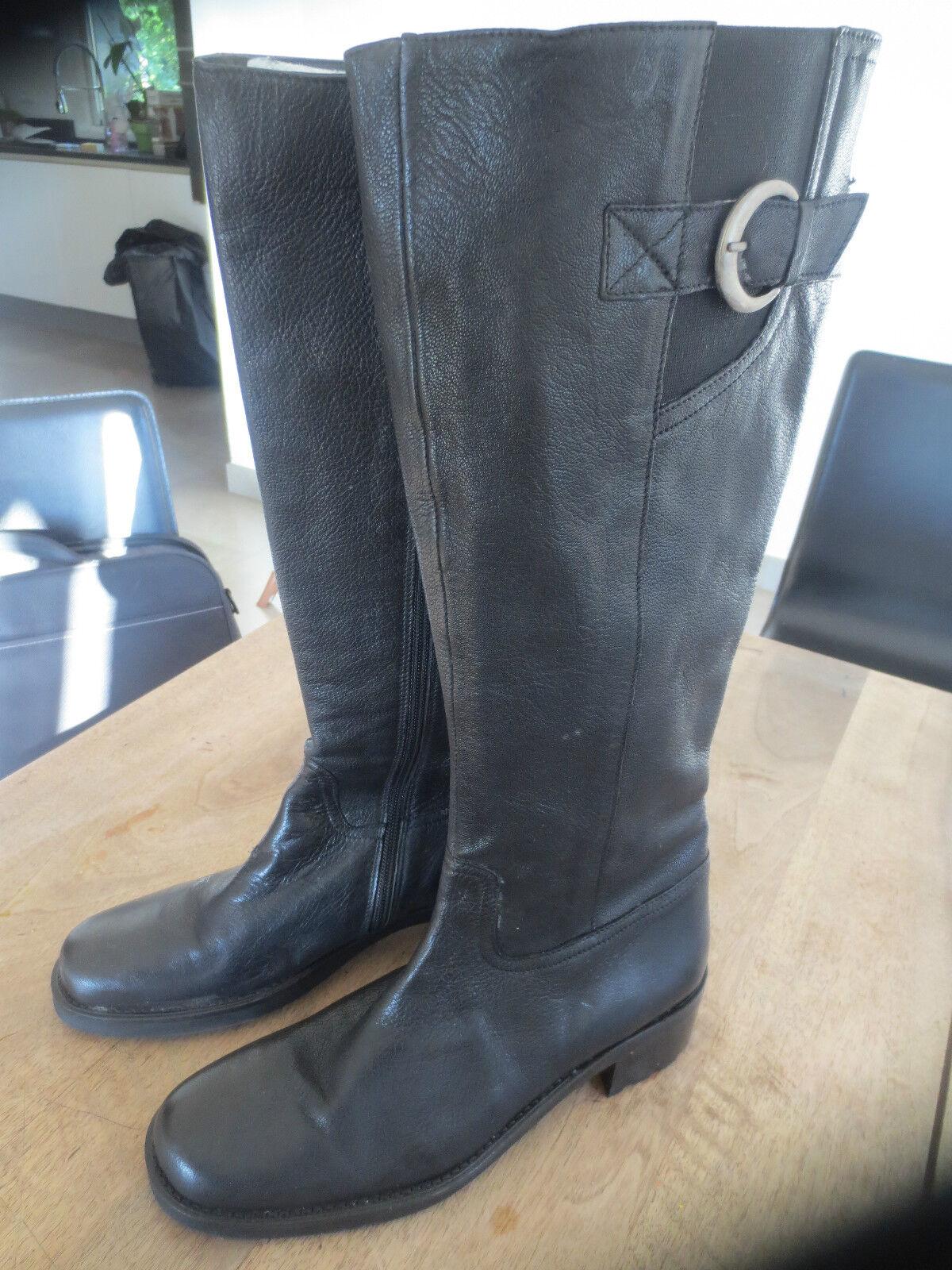Bottes m par m cuir noir NEUVE Valeur 159E talon 5cm Pointure 35