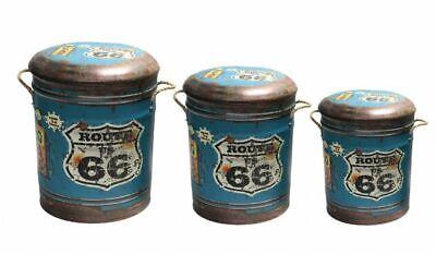 Route 66 Sgabello In Metallo O Storage Bin Vintage Con Sedile Bicicletta-scegli La Tua Taglia-mostra Il Titolo Originale