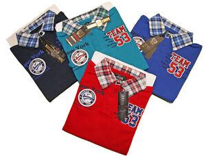 T-Shirt-Polo-Enfant-Garcon-Col-Poignet-Carreau-Marine-Corps-NY-du-4-ans-au-14ans