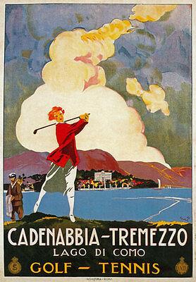 Tv48 Vintage A3 1926 Cadenabbia Tremezzo Lago de Como Italia Italiana Cartel viaje